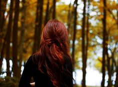 Among the fall trees where my ginger locks feel at home...