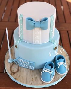 Little Boy Birthday Cake - Birthday Cake Fruit Ideen Torta Baby Shower, Baby Shower Cakes For Boys, Baby Boy Cakes, Baby Shower Cupcakes, Boys First Birthday Cake, Baby Birthday Cakes, Baby Dedication Cake, Baby Christening Cakes, Little Man Cakes