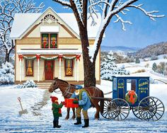 Bits and Pieces - 500 Piece Jigsaw Puzzle for Adults - Special Delivery - 500 pc Winter Holiday Scene Jigsaw by Artist John Sloane Christmas Scenes, Christmas Art, Vintage Christmas, Xmas, Snow Scenes, Winter Scenes, Christmas Paintings, Country Art, Christmas Illustration