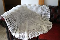 Crocheted Tablecloth. Vintage hand Crocheted white by vintagdesign