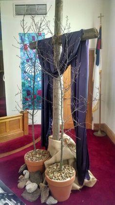 Lenten time! Lent Decorations For Church, Church Crafts, Altar Design, Church Design, Alter Decor, Liturgical Seasons, Easter Garden, Christian Decor, Church Events