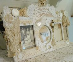 Love the idea to decorate frame with lace, specially to match lace and fabric of your room where this frame will be. Chippy, Shabby Chic, Whitewashed, Cottage, French Country, Rustic, Swedish decor Idea. *** Reppined from Teresa Jackson ***.