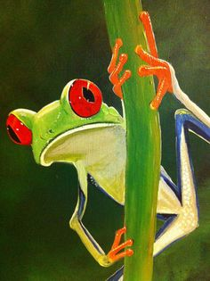 Tree Frog - Peek-A-Boo-24 x 48, acrylic on canvas, ready to hang, by Michael H. Prosper on Etsy, $775.00