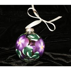 Hand Painted Ornament, Purple Floral (255 UAH) ❤ liked on Polyvore featuring home, home decor, holiday decorations, flower home decor, painted ornaments, purple ornaments, floral home decor and handpainted ornaments