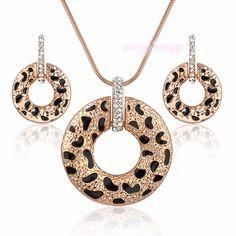 Sexy Leopard Print Jewelry Set Crystal Circle Pendant Earrings Women Gift CN148 | eBay