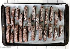 Double Chocolate Biscotti An easy Double Chocolate Biscotti Recipe that is perfect to serve with coffee or share as gifts during the holidays. Chocolate Color, Chocolate Flavors, Bar Cookies, Cookie Bars, Double Chocolate Biscotti Recipe, Shaped Cookie, Unsweetened Cocoa, Salted Butter, Vegetarian Chocolate