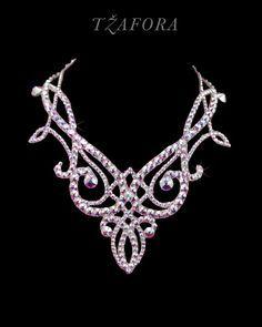 Swarovski ballroom necklace. Ballroom dance jewelry, ballroom dance accessories. www.tzafora.com Copyright © 2015 Tzafora. Handmade in Canada.
