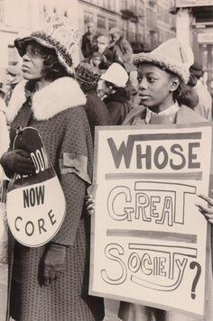 """Whose Great Society?"" Harlem supports the Selma Civil Rights Movement, New York City, 1965 — at Harlem, New York City.   Photo credit: Diana Davies Papers"