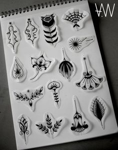 AWA Production Black Traditional Floral Tattoo Flash.: