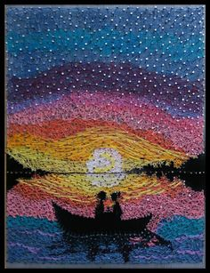 Moon River, String Art painting And if you are to love, love as the moon loves. It does not steal the night— It only unveils the beauty of the dark. This is a romantic String Art work, inspired by natures beauty at full Moon time and also by the Breakfast at Tiffanys movie clip