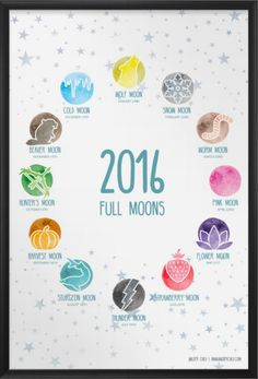 Intro to Moon Gazing + 2016 Full Moon Dates Printable! cool free printable poster!