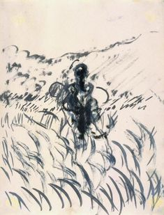 Francis Bacon. Figure in a landscape 1952. Oil on paper © Estate of Francis Bacon                                                                                                                                                                                 Plus