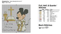 Mickey My First Communion 3 of 3 Cross Stitch Baby, Cross Stitch Charts, Cross Stitch Patterns, Mickey Mouse And Friends, Mickey Minnie Mouse, Cross Stitching, Cross Stitch Embroidery, Stitch Movie, Disney Stitch