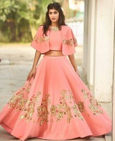 Wedding lehenga designs - Lavish Pink Color Georgette Designer Lehenga Choli Everyone will admire you when you wear this clad to elegant affairs This pink color a line lehenga choli is accenting the gorgeous feeling The bril Indian Gowns Dresses, Indian Fashion Dresses, Indian Designer Outfits, Designer Dresses, Choli Designs, Blouse Designs, Indian Wedding Outfits, Indian Outfits, Wedding Lehenga Designs