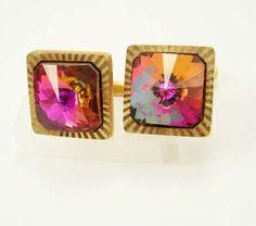 Vintage Pink Rivoli Cufflinks High Quality by NeatstuffAntiques, $75.00