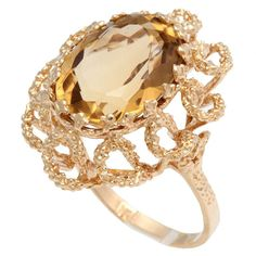 60's Melted Gold Swirls Ring with Citrine Center Stone #VintageCocktailRings