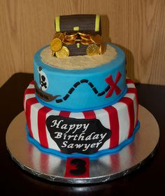 pirate birthday cakes | pirate cake not so scary pirate cake for 3 year old birthday party the ...