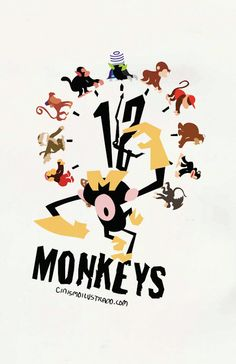 Del ingenio de los Cinicos Diseñadores, este cartel de 12 Monos famosos, cada uno en su mundo. Una monada!