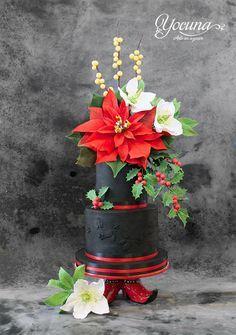 Tarta de la Navidad - Christmas cake by Yolanda Cueto - Yocuna Arte en Azúcar