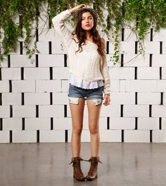 Denim shorts, creme sweater, brown combat boots. American Eagle. NEED THIS OUTFIT ESPECIALLY THE COMBAT BOOTs