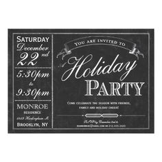 Chalkboard Typography Holiday Party Invitation Click on photo to purchase. Check out all current coupon offers and save! http://www.zazzle.com/coupons?rf=238785193994622463&tc=pin