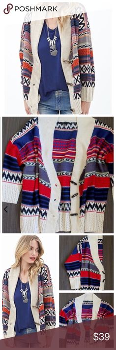 🎈SALE 🎈Boho Chic Tribal Aztec Cardigan Amazing native prints adorn this oversized knitted cardigan. Features three brown wooden like toggle buttons to be worn buttoned up or down for that open cozy laid back look. This oversized cardigan looks amazing on, pair with cognac boots, and leggings for the perfect fall look. 25% mohair 75% acrylic. 🙂🙂🙂REASONABLE offers are welcome. Bundles of 1 will be IGNORED. ❌ ❌Sorry no trades. Honey Punch Sweaters Cardigans