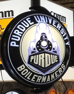Purdue University Rotating Illuminated Wall Sign featuring the Boilermakers Secondary Logo. Purdue University, Wall Signs, 5 D, Man Cave, Dorm, Fans, Hardware, Logos, Gift