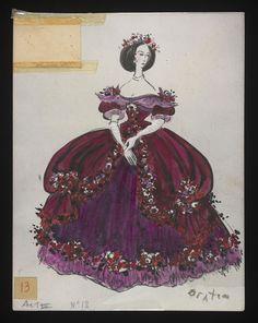 Costume designs by Cecil Beaton for the Metropolitan Opera's 1966 production of Verdi's La traviata From the V&A Teen Boy Costumes, Theatre Costumes, Costumes For Teens, Movie Costumes, Cool Costumes, Vintage Costumes, Amazing Costumes, Steampunk Ship, Costume Design Sketch