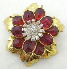 Retro Ruby Flower Brooch