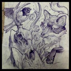 Dan Fletcher @blindvulture Fox skull bird fo...Instagram photo   Websta (Webstagram)