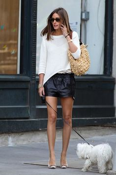 Street style - light knit sweater and leather skirt - cute outfit for transitional seasons!