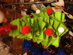 Felt squares layered with pompoms = Christmas tree ornament