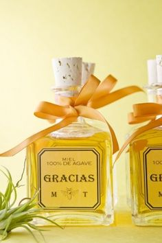 Wedding favor: Mini Tequila bottles. Simple and fits the theme! Tie with a cute ribbon to match color scheme of wedding.