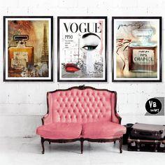 3 X A3 Kunstdrucke, Mode 1950, einzigartige Original Kunst Poster Vogue, Parfüm Flasche Chanel N5 drucken, Vintage Wall Art, französische Kunst