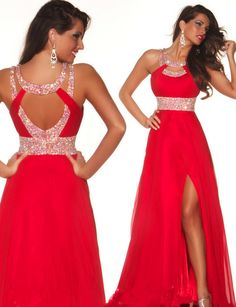 Diyouth.me 2015 New Sexy Open Back Beading Red Prom Dress Long Evening Dresses Cheap Homecoming Dress, fashion party dresses, open back prom dress, backless evening dress, beaded cocktail dress, graduation dresses long
