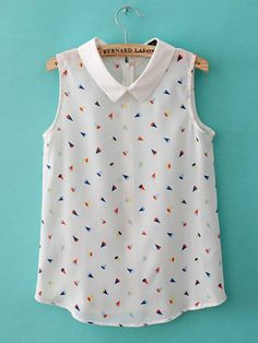 White Sleeveless Colorful Tiny Cone Print Blouse with Zip