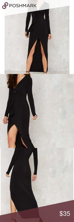 Nasty gal split maxi New, bodycon style maxi by Nasty Gal, stretch jersey, front tie knot, center slit. Accessorize with jewel tones for a vampy look. True to size. No trades. Nasty Gal Dresses Maxi