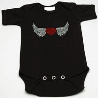 "Love never looked this fashionable! Lollipop Moon's exclusive Rhinestone Heart with Wings Baby Creeper will elicit ""oohs"" and ""aahs"" as people wonder where your little one got her fab cool baby clothes! **(Lollipop Moon's Rhinestone Heart With Wings Baby Cute Baby Onesies, Valentine Gifts For Kids, Heart With Wings, Trendy Baby Clothes, Stylish Boys, Black Rhinestone, Baby Boutique, Funny Babies, Baby Boy Outfits"