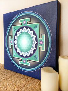 Pretty blue and teal Sri Yantra canvas print