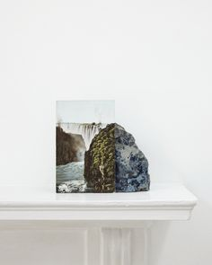 mentaltimetraveller:  Stuart Whipps, A postcard of Victoria Falls leaning against a geological sample from John Latham's mantelpiece, 2012