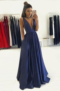 deep v neck navy blue prom dresses