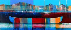 À la lueur des montagnes, mixed media canoe painting by Sylvain Leblanc   Effusion Art Gallery + Cast Glass Studio, Invermere BC River Painting, Boat Painting, Contemporary Decor, Modern Decor, Art Gallery, Canadian Artists, House Colors, Landscape Paintings, Kayaking