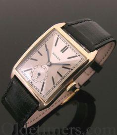 A rare large 9ct rose gold rectangular vintage Rolex watch, 1929