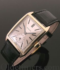A rare large 9ct rose gold rectangular vintage Rolex watch, 1929
