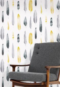 'Feathers' Wallpaper By Mini Moderns & Matt Sewell