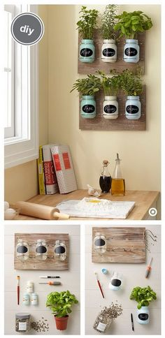 DIY Indoor Mason Jar Herb Garden. These DIY mason jar herb gardens are the perfect addition toany kitchen.  What you need: Wooden Plaque with Mason Jars, Hand Made Modern Paint, paintbrush, screwdriver, soil, herbs and a chalkboard marker.