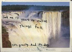 """""""Took me 17 years to realize Things fall. It's gravity. And it's okay."""" From Post Secret Pretty Words, Beautiful Words, Words Quotes, Me Quotes, Sayings, Grunge Quotes, Fall Quotes, Motivational Quotes, Funny Quotes"""