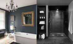 Bathroom in black Clawfoot Bathtub, Bathroom, Black, Clawfoot Tub Shower, Washroom, Black People, Bath Room, Bathrooms, Downstairs Bathroom