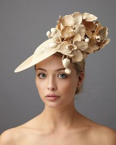 The perfect occasion hat the Bergman dish hat comprises a small sinamay dish base decorated with ornamental orchids on a colour matched head band Millinery Hats, Fascinator Hats, Fascinators, Sinamay Hats, Derby Outfits, Occasion Hats, Kentucky Derby Hats, Cocktail Hat, Fancy Hats