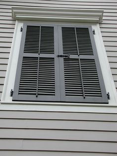 False Window with Louvered Shutters - Slide Bolt and Faux Tilt Rods